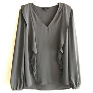 NWT! Banana Republic Grey Ruffle Blouse